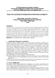 Role of gage R&R in estimation of process capability - FSB